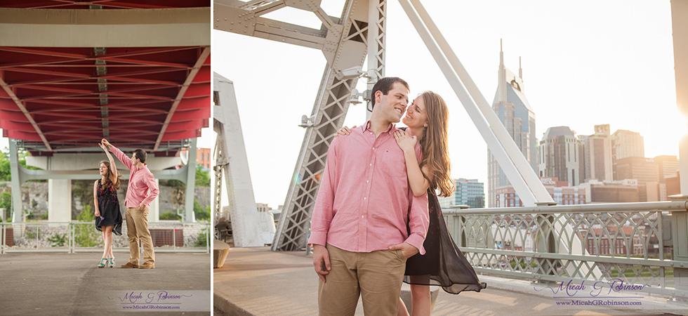 Engaged couple playful Nashville