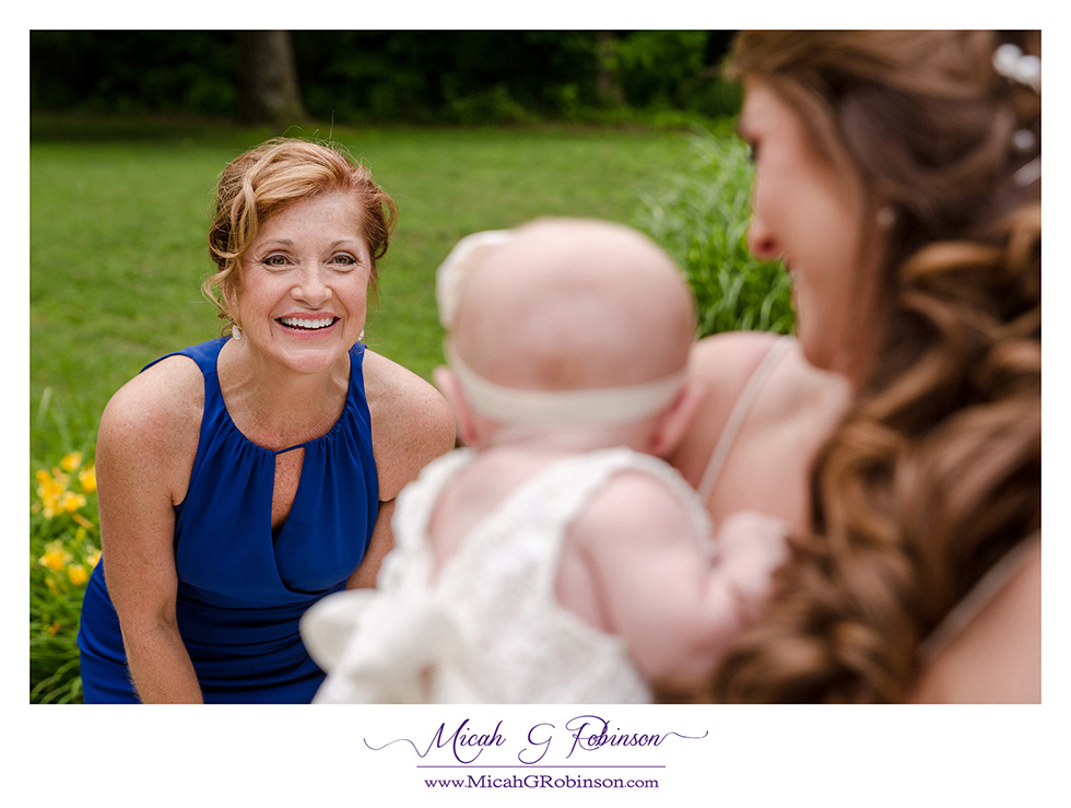 Bride, child and mom