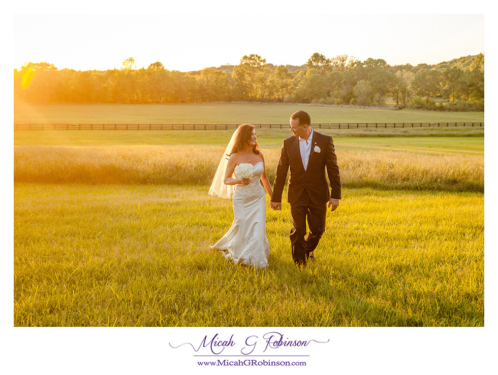 Bride and groom sunset field.