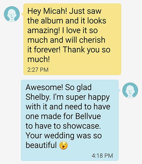 Wedding client text