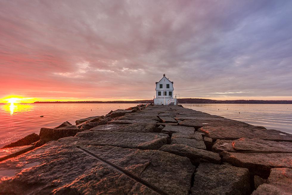 Ocean and light house Maine