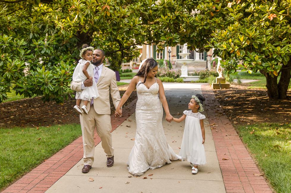 Bridal party walking Belmont.