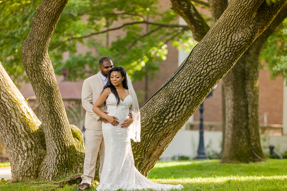 Hugging couple Belmont Mansion.